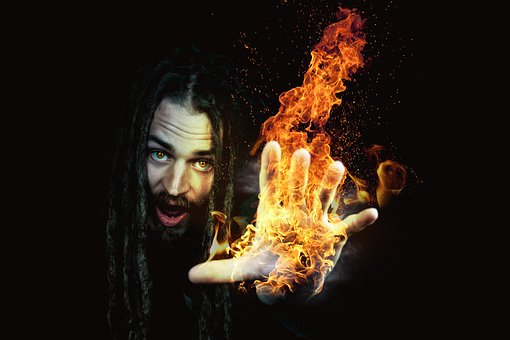 Flame, Smoke, Dark, Man, Fire