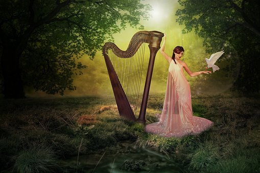 Harp, Forest, Fairy, Pigeon, Nature, Fantasy