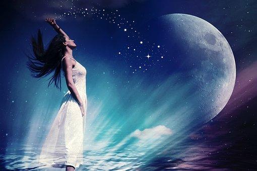 Woman, Fee, Moon, Star, Astronomy, Planet, Zodiac Sign