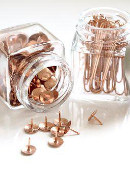 Desktop, Glass, Jar, Rose Gold, Business, White, Office