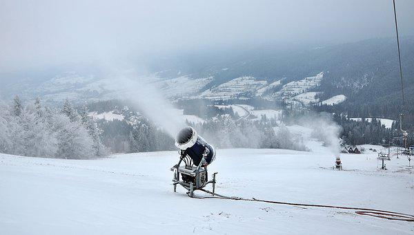 Snow Cannon, Snow, Extract, Winter, Cold, Mountain