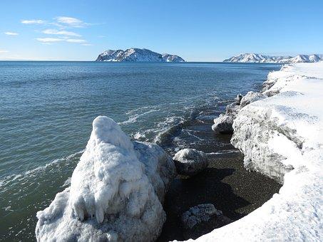 Ocean, Sea, Beach, Coast, Snow, Winter, Nature, Rocks