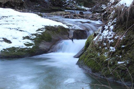 Water, Stream, Nature, River, Rock, Waterfall