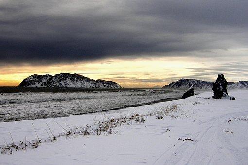 Ocean, Sea, Beach, Coast, Sunset, Clouds, Snow, Winter