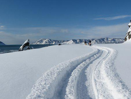 Ocean, Sea, Beach, Coast, Snowmobiles, Tourists, Snow