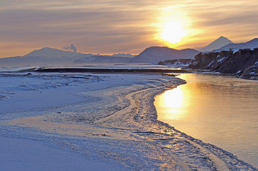 Sunset, River, Nature, Dawn, Volcanoes, Mountains