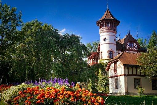 Architecture, Travel, Sky, Castle, Flowers, Park, Tower