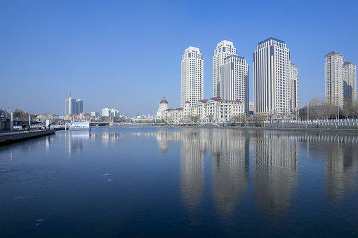 City, Building, Cityscape, Skyline, Waters, Haihe