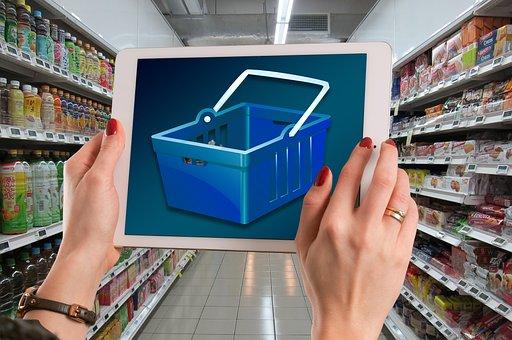 Shelf, Stock, Supermarket, E Commerce, Shopping Basket