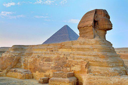 Egypt, Cairo, Giza, Great Sphinx, Cheops-pyramider