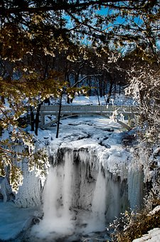 Nature, Water, Winter, Snow, Tree, Waterfall, Cold