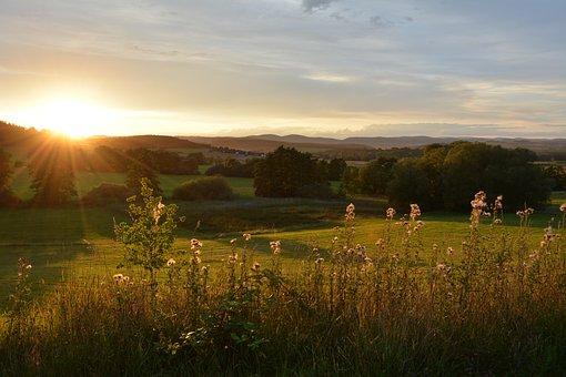 Landscape, Sunset, Panorama, Nature, Grass, Dusk, Sky