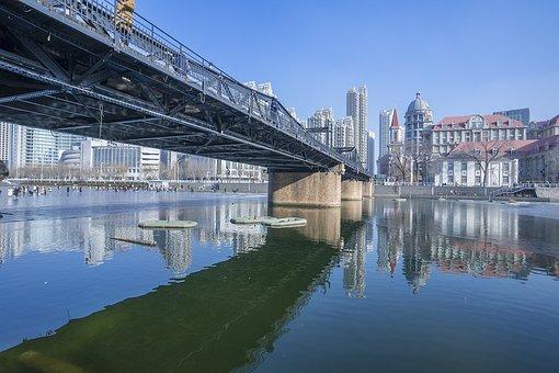 Waters, Reflection, River, Bridge, Building, Tianjin