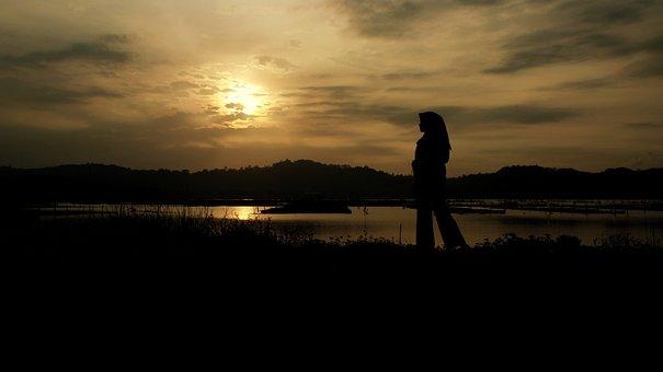 Silhouette, Dark, Gold, Welcome, Sun, Orange, Women