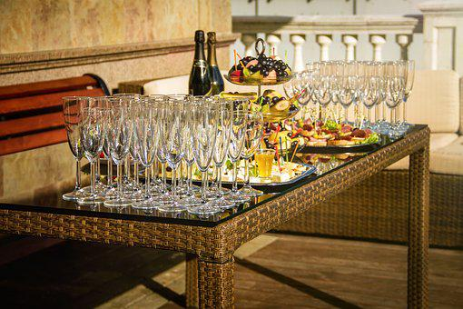 Reception, Table, Party, Wood, Wine, Glass, Alcohol