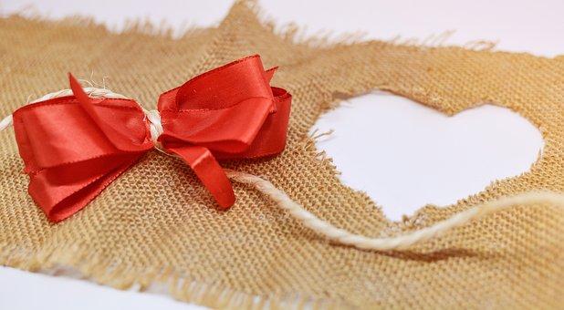 Heart, Jute, Background, Bow, Valentine's, Day, Love