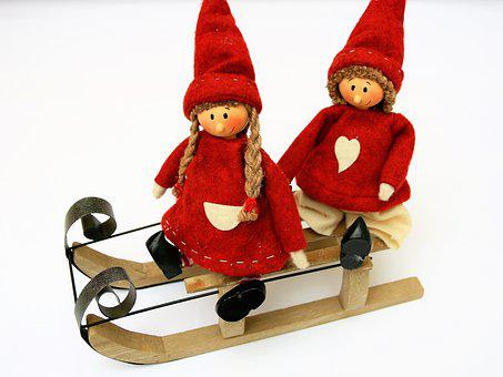 Imp, Para, Dwarves, Dolls, Sled, Winter, Gift, Cheerful