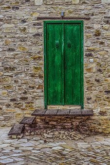 Wall, Door, Wooden, Green, Architecture, Traditional