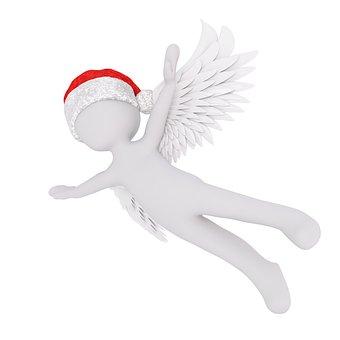 Christmas, White Male, Full Body, Santa Hat, 3d Model