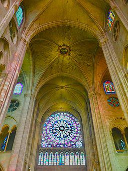 Rosette, Cathedral, Stained Glass Window, Architecture