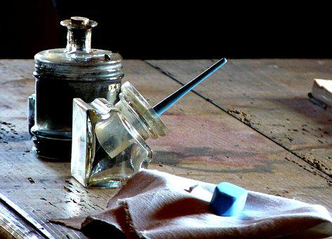 Spring, Fountain Pen, Inkwell, Ink, Chalk, Table