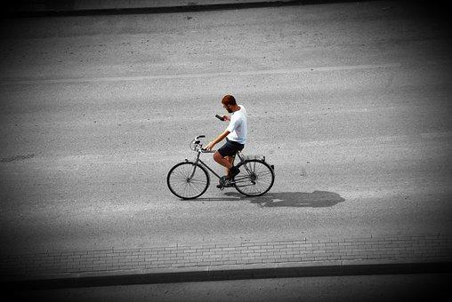 Bike, Vignette, Computer, Green, Hand, Bicycle, Travel