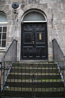 Edinburgh, Door, Gate, Entrance, Building, Wood, Black