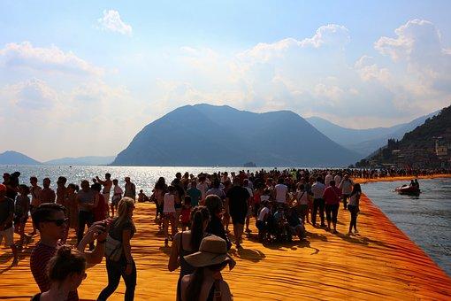Christo, Floating Piers, Italy, Art, Installation