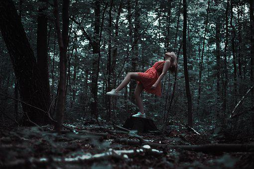 Levitation, Girl, Red Dress, Forest, Magic, Outdoors