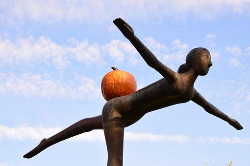 Sculpture, Fly, Funny, Pumpkin, Bronze, Woman, Art