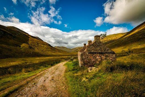 Scotland, Cottage, House, Abandoned, Landscape