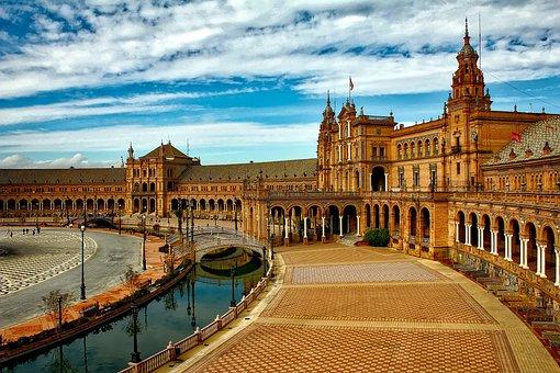 Plaza Espana, Seville, Spain, City, Urban, Building