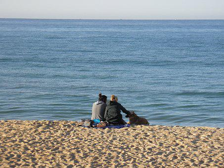 Beach, Young Couple, Romance, Dog, Portugal, Faro, Love