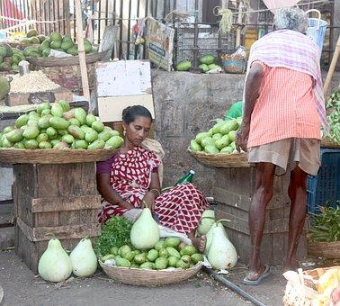 India, Market, Woman, Man, Vendor, Asia, Sleepy, Asleep