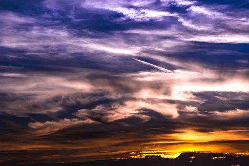Sunset, Sky, Clouds, Bright Cloud, Dark Clouds