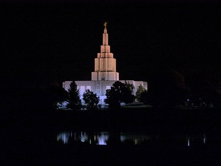Mormon, Temple, Building, Night, Idaho Falls, City
