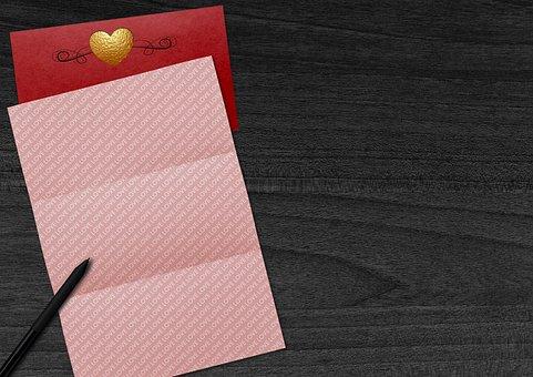 Valentine's Day, Heart, Paper, Envelope, Pen, Desk
