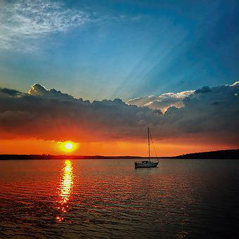 Sunset, Water, Dusk, Dawn, Sea, Evening, Sun, Lake