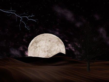 Landscape, Moon, Storm, Full Moon, Super Moon