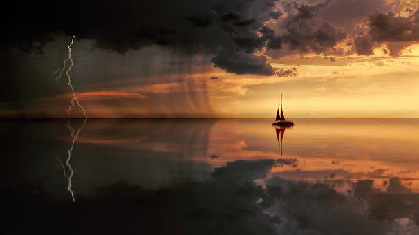 Sunset, Nature, Waters, Dusk, Dawn, Ocean, Reflection