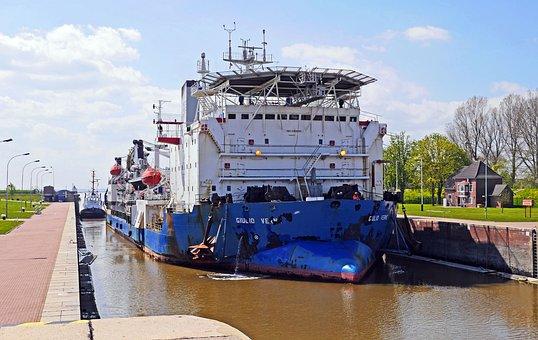 Emden, Sea Lock, Nautical Vessel, Working Ship