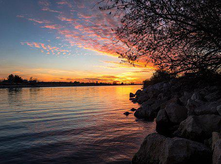Sunset, Evening, Water, Silhouette, Sky, Atmospheric