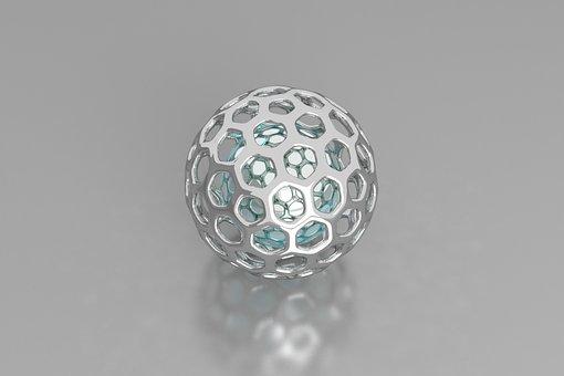 3d Sphere, Aluminum, Metal, Bright