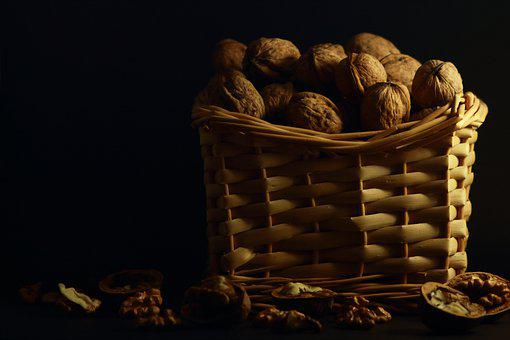 Nuts, Eating, Fruit, Container, Health, Nature, Closeup