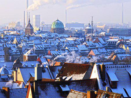 Morning, Winter, Nuremberg, Cold, Snow, Roof, Roofs