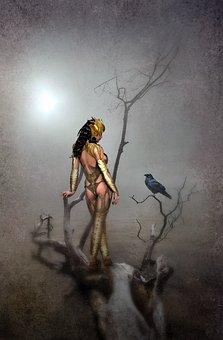 Fantasy, Landscape, Amazone, Crow, Fog, Light, Tree