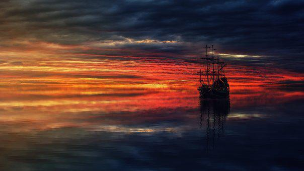 Sunset, Dawn, Dusk, Waters, Sea, Evening, Reflection