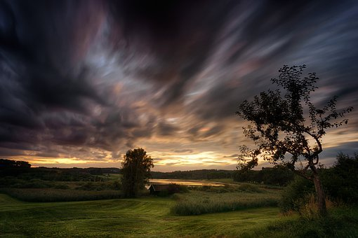 Sunset, Nature, Tree, Sky, Landscape, Twilight, Clouds