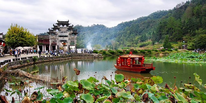China, Zhejiang, Village, River, Chinese Boat, Nature