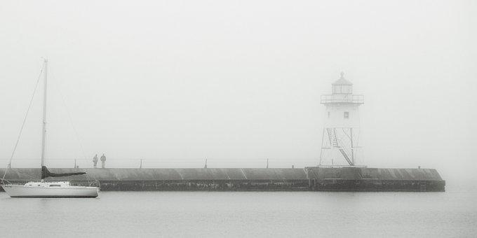 Monochrome, Sea, People, Water, Nature, Fog, Sailboat